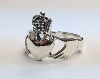Claddagh Heart & Crown Silver Ring, Size 6 3/4