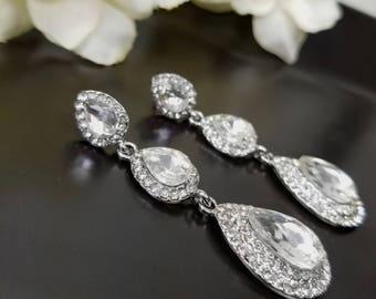 Teardrop Bridal Earrings, Long Wedding Earrings, Pear Shaped Crystal Earring, Cubic Zirconia Wedding Jewelry, Hollywood Glamour, Dangle Drop