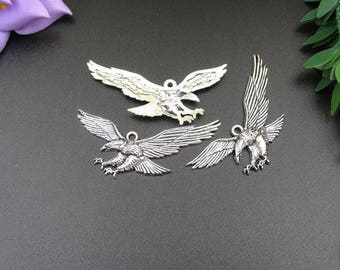 5Pcs 24×50mm Silver Flying Eagle Charms -p1796