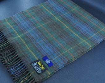 """J Press by Johnstons of Elgin Scarf Plaid Pattern Multicolor Made in Scotland 100% Lambswool Scarf 65"""" X 14"""""""