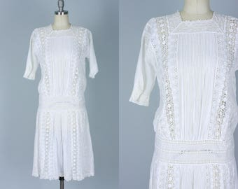 Vintage 1910s Dress | 10s 20s Pin Tucked White Cotton and Lace Drop Waist Dress | Small
