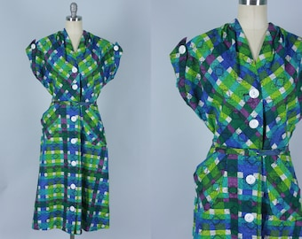Vintage 1940s Dress | 40s 50s Jeweltone Plaid Cotton Belted Day Dress | Large / Extra Large