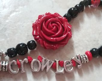 Crowley King of Hell SPN Red Flower necklace
