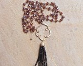 Tassel Beaded Necklace / Tassel Necklace with Gold Connector Pendant / Long Beaded Black Tassel Necklace on a Beaded Chain