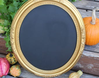 Oval Chalkboard Gold Upcycled Chic Frame Hollywood Regency Syroco Decor Repurposed