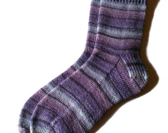 KNIT TO ORDER - Hand Knit Socks Purple Blue Grey