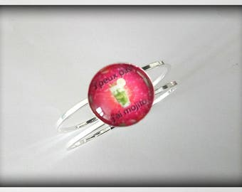 Bracelet stiff theme Mojito glass cabochon