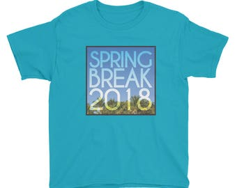 Spring Break 2018 Vacation Theme T-shirt Youth Kids Short Sleeve T-Shirt