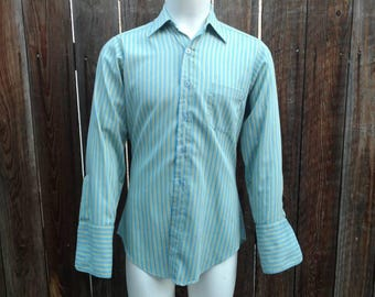 Vintage Men's 70s Shirt Long Sleeve French Cuff Formal Blue Striped Cotton Medium