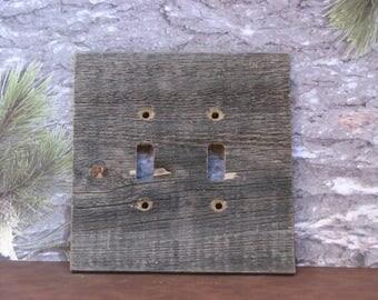 double toggle barnwood switchplate switch cover wall plate wood switchplate wood plank