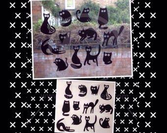 Cats silhouette window cling set , 12 mini black cat decorative clings for glass and mirror surfaces, static cling, reusable decal.