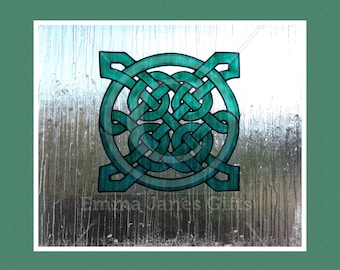 Celtic knot window cling, hand painted for glass & mirror surfaces, decorative reusable, faux stained glass static cling decal, suncatcher