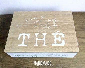 wooden tea box, tea or storage box,white handmade tea box, rustic tea box, teabox, country tea box, wooden box