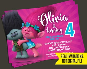 Trolls Birthday Invitation - Trolls Invitation - Poppy and Branch