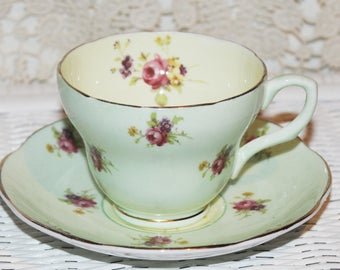 Vintage Pistachio Green Teacup & Saucer Yellow Inside with Rose by EB Foley Bone China England