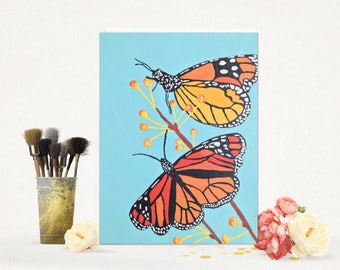 Monarch Butterfly Painting - Butterfly Painting - Butterflies Canvas Painting - Wall Art - Shelf Art - 8 x 10 Canvas Art - Nature Art