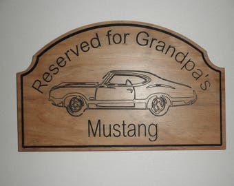 Grandpa Signs  Mustang man cave Carved automobile signs Personalized /customized auto detail Grandpa man cave bar signs personalized mustang