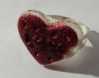 glittery red heart ring