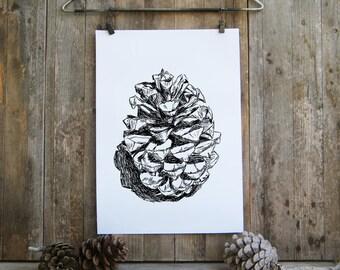 Botanical Print, Bedroom Decor, Pine Cone Print, Botanical Art, Printable Wall Art,Nature Print, Black and White Print, Gift Under 10
