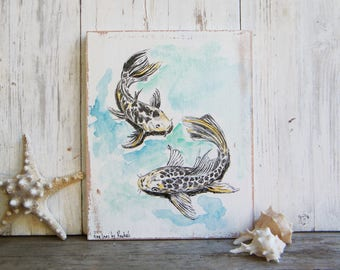 Koi Fish Print On Wood, Fish Wall Sign, Pisces Print, Wood signs for home, Housewarming Gift, Rustic wood sign, Nautical art, gift for home