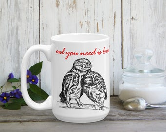 Funny Valentine Gift, Owl You Need Is Love, Owls Mug, Love Gift, Love Token, Coffee Mug, Valentines Gift, Tea Mug, Black Red Drinkware