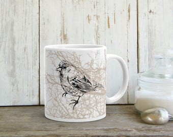 Bird Print Mug, Coffee Mug, Tea Cup, Coffee Gift, Tea Mug, Drink Gifts, Brown White Mug, Sparrow Bird Print, Drinkware, Printed Mug
