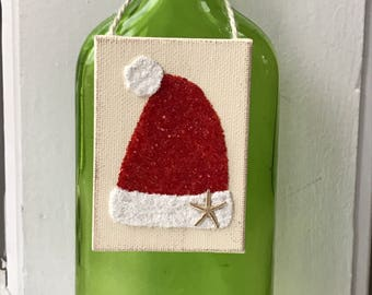 Santa hat ornament, Santa hat, christmas ornaments , coastal Christmas ornaments, wine tags, ornaments, coastal ornaments,