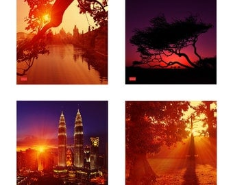 "Four prints from ""Amazing landscapes"" series, photos 1,3,7,12 in the set"