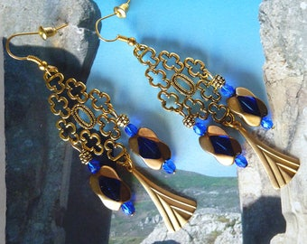 """Earrings, Antique """"Parthenon"""" gold tone metal filigree style beads blue and gold Czech glass, brass stamp"""