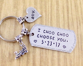 Couples Train Keychain Couple Keychain • Train Conductor Boyfriend Gift • Couples Anniversary Gift • LIRR • Customize Your Own