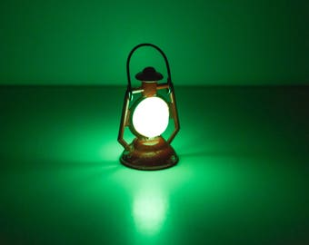 Green Glow in the Dark Lantern in Red for use in your Fairy Garden, includes Mini Blacklight