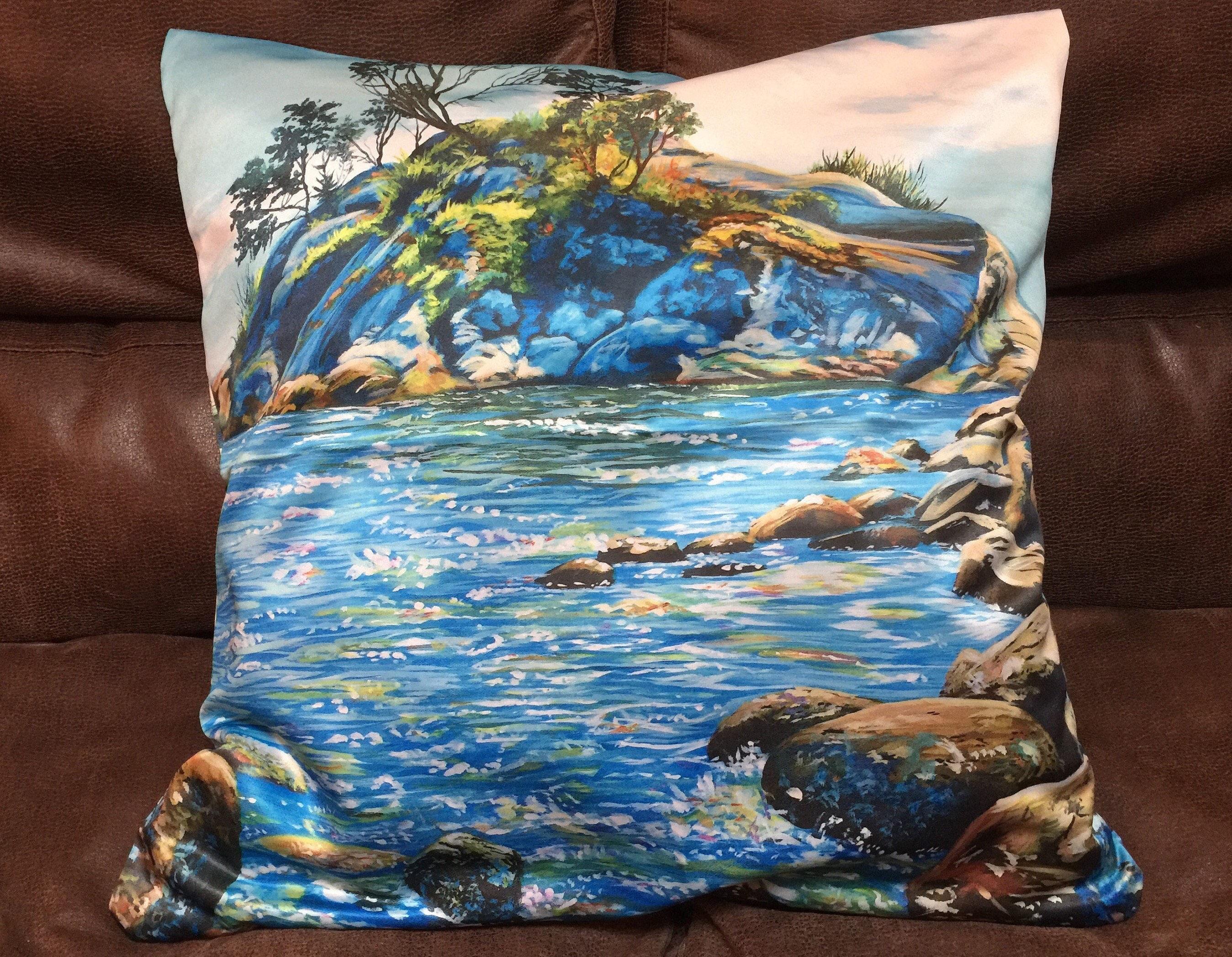 Ocean Blue Decorative Pillows : Ocean Throw Pillow Seascape Throw Pillow Blue Ocean Throw