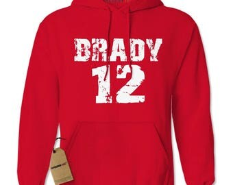 Brady #12 New England Football Adult Hoodie Sweatshirt