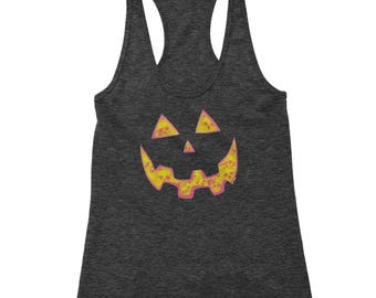 Jack O' Lantern Face with Skulls Racerback Tank Top for Women