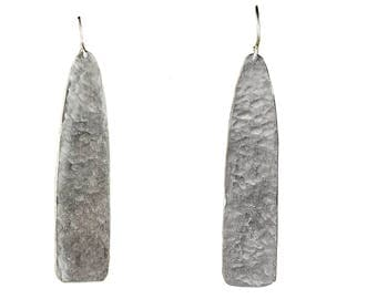 Hammered long earrings, silver plain drops, artisan simple design, designer earrings, alpaca jewelry, water drop chandelier, slim earrings