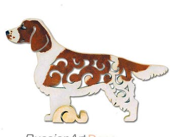Statuette Welsh Springer Spaniel figurine made of wood, hand-painted with acrylic and metallic paint