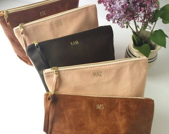 Bridesmaid Gift // Monogrammed Leather Clutch // Cosmetic Bag // Travel Bag // Soft Leather Clutch