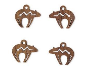 Zuni Bear Charm, Tribal, Natural Wood, Cutout, 13x10mm, 2 Each, D1025