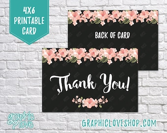 Printable 4x6 Cherry Blossom Floral Thank You Card - Folded or Postcard | Digital High Resolution JPG File, Instant Download, NOT Editable
