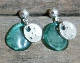 50 style earrings One, green resin earrings