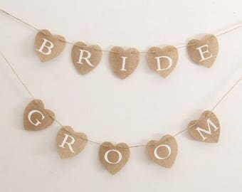 Bride Groom Wedding Burlap Banners,Jute,Hessian,Reception Banners,Wedding,Bridal Shower,Party Decor,Photo Prop