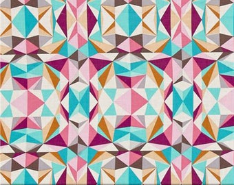 Modernist Prismatic Pink Geometric Triangles Crystalline Cotton Fabric from by Joel Dewberry for Free Spirit Fabrics