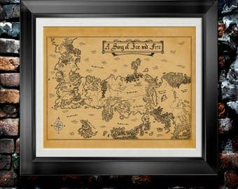 Game of Thrones Map of Game of Thrones Hand Drawn Fantasy Map Artwork GOT Map Decor Song of Ice and Fire Gift for Game of Thrones Art PP9048