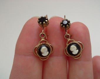 Vintage Cameo Earrings, Black White Cameo, Pierced Cameo Earrings, Petite Cameo Earrings, Small Cameo Earrings, Kidney Wire Earrings
