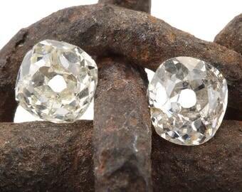 Diamonds loose old mine cuts  .27 ct , .26 ct   antique vintage   K i2   M N i2   antique cushion brilliant cut diamonds   circa 1800's