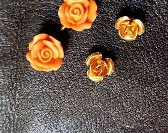 Joli ensemble de 4 roses facon corail et doré