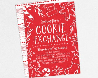 Cookie Exchange Invitations, Christmas Party Invitations, Holiday Party Invitations, Printable Christmas Invitation, Printed Christmas, Red