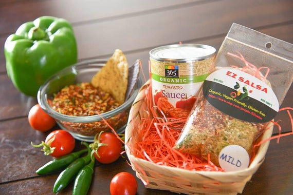 Organic  Gift basket Salsa and Organic Tomato Sauce choice of Mild Medium Hot or ghost
