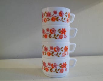 """Vintage 70s lot of  4 Arcopal France """"Scania"""" espresso cups"""