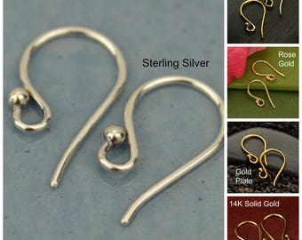 Sterling Silver, Earring Findings, Silver Earrings, Hook Earrings, Hook Findings, Silver Ear Hooks, Simple Ear Hooks, Simple Earring Finding